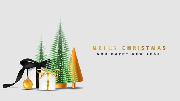 Feliz natal com árvore de natal 3d e caixa de presente