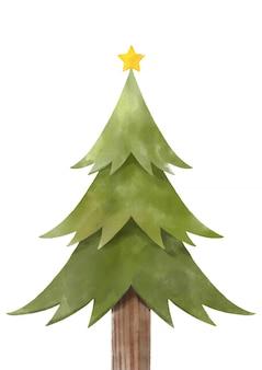 Feliz natal com árvore de natal em aquarela.