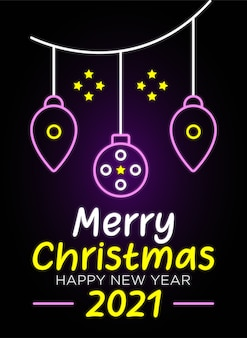 Feliz natal com banner e texto em néon de feliz ano novo
