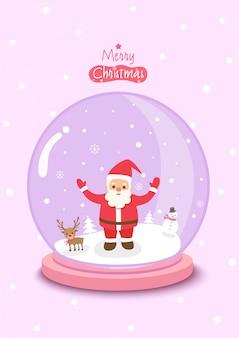 Feliz natal com bola globo decorado com santa calus e neve em fundo rosa.