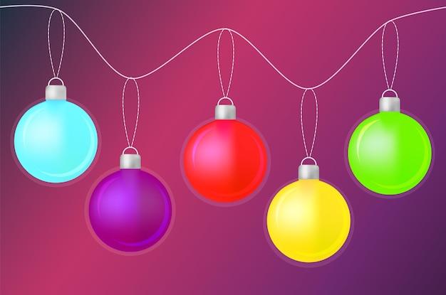 Feliz natal com bolas brilhantes em um fundo gradiente roxo