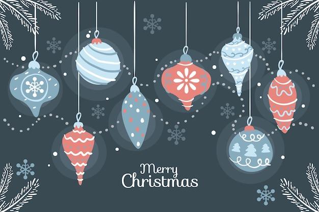Feliz natal com bolas de natal coloridas penduradas