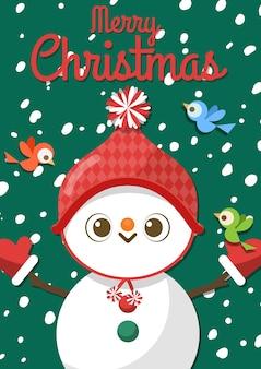 Feliz natal com boneco de neve dos desenhos animados e três pássaros.