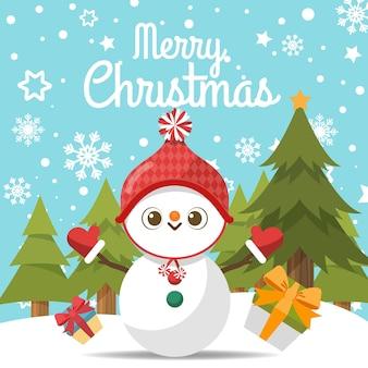 Feliz natal com boneco de neve dos desenhos animados na neve.