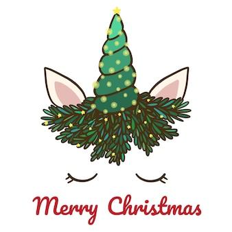 Feliz Natal com bonito unicórnio e chifre.
