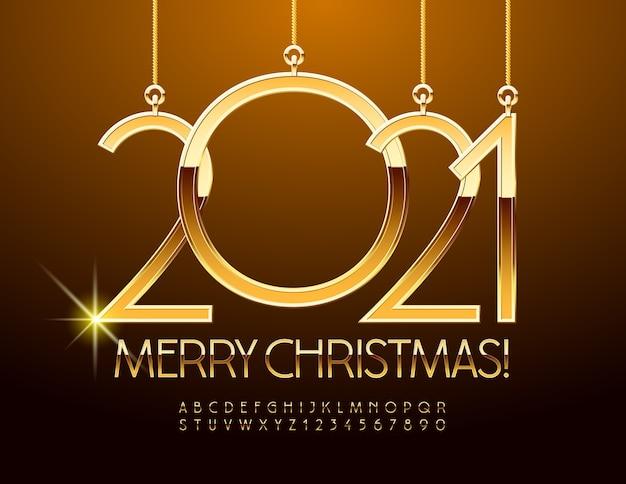 Feliz natal com brinquedos 2021. fonte de ouro brilhante. letras e números do alfabeto