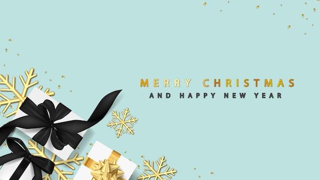 Feliz natal com caixa de presente 3d e floco de neve