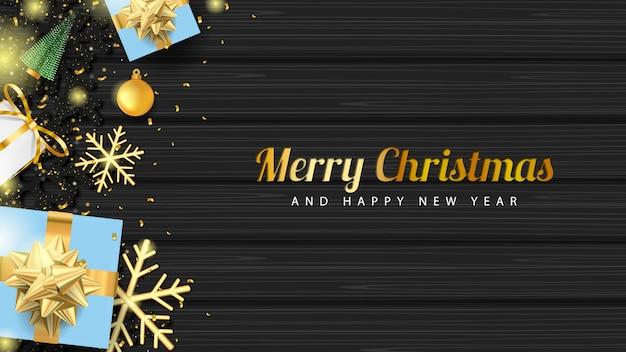 Feliz natal com caixa de presente 3d e glitter