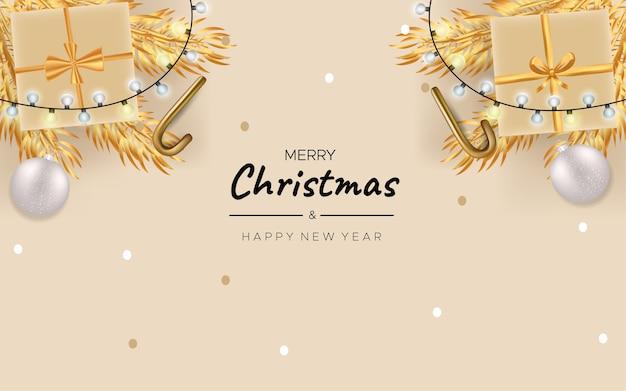Feliz natal com caixa de presente de natal e fundo dourado