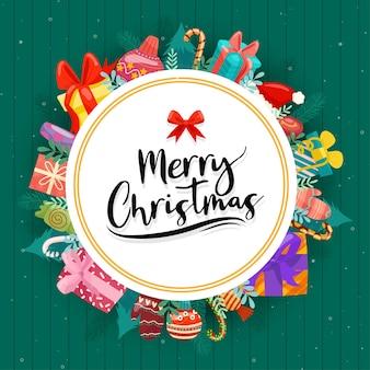 Feliz natal com caixas de presente coloridas decoradas em círculos