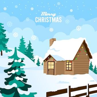 Feliz natal com casa de madeira