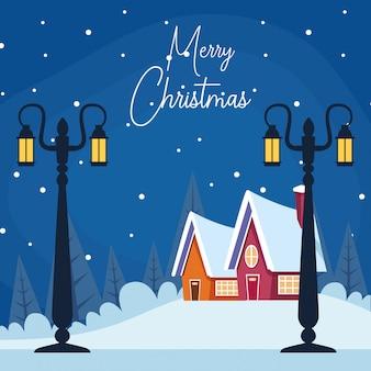 Feliz natal com cenário de inverno com lâmpadas de rua e casas, design colorido, ilustração