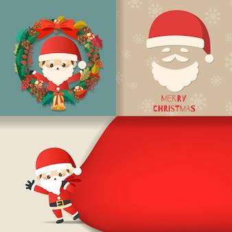 Feliz natal com conjunto de cartão, personagem de desenho bonito pequeno papai noel, boneco de neve, árvore de natal, caixa de presente, neve em cartões. ilustração vetorial