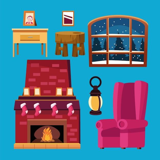 Feliz natal com conjunto de ícones da casa