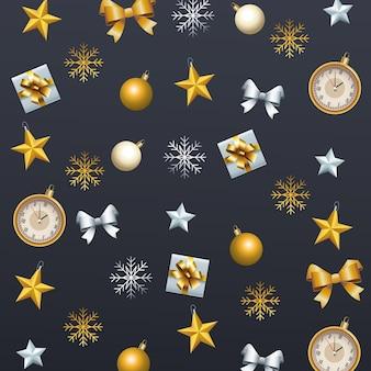 Feliz natal com conjunto de ícones decorativos ilustração padrão