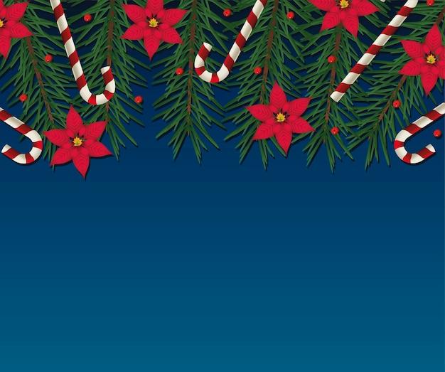 Feliz natal com decoração floral e ilustração em moldura de bastões
