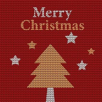 Feliz natal com desenho de árvore em tecido de tricô geométrico