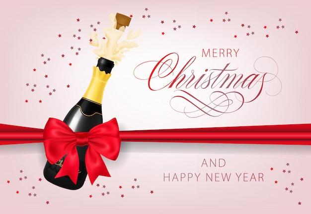 Feliz natal com design de cartão postal de garrafa de champanhe