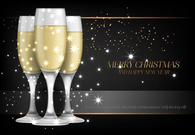 Feliz natal com design de cartaz de taças de champanhe