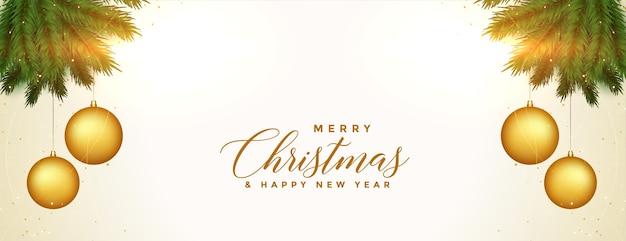 Feliz natal com design decorativo de banner dourado