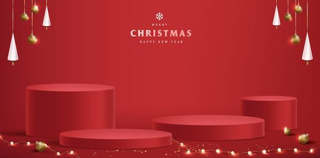Feliz natal com display de produto em formato cilíndrico Vetor Premium