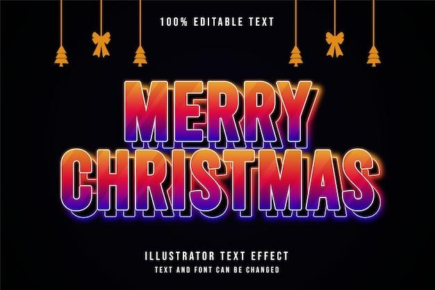 Feliz natal com efeito de texto editável e estilo de gradação amarelo