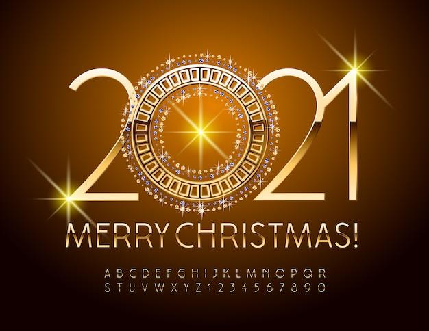 Feliz natal com espumante brilhante ornamentado. fonte brilhante elegante. conjunto de letras e números do alfabeto dourado