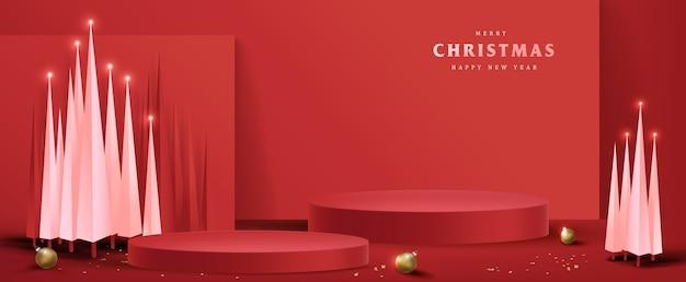 Feliz natal com exibição de produto em formato cilíndrico e árvore de natal
