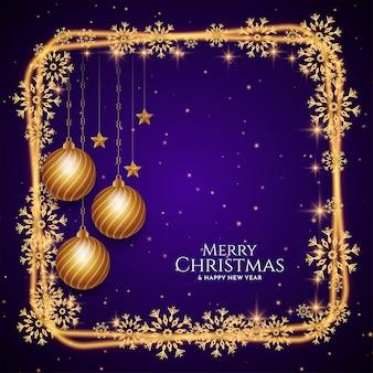 Feliz natal com fundo brilhante design de moldura