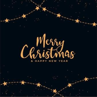Feliz natal com fundo decorativo preto e dourado