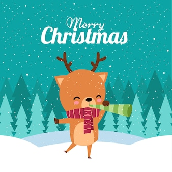 Feliz natal com giro kawaii mão desenhada cachecol vermelho