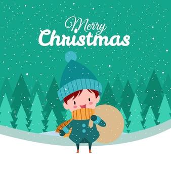 Feliz natal com giro kawaii mão desenhada garoto vestindo traje de inverno