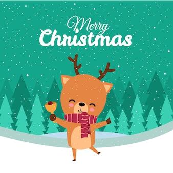 Feliz natal com giro kawaii mão desenhada veado com lenço vermelho tocando o sino