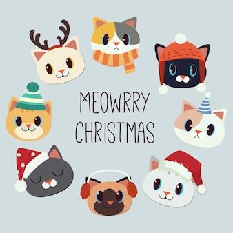 Feliz natal com ilustração de gatos