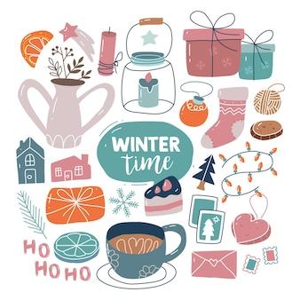 Feliz natal com letras de elementos tradicionais de inverno bonitos desenhados à mão estilo escandinavo