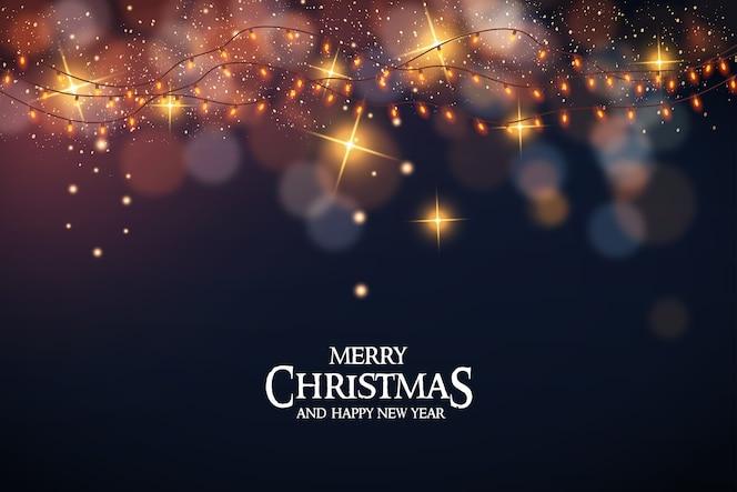 Feliz natal com luzes de natal e bokeh
