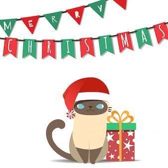 Feliz natal com o gato do traje de papai noel.