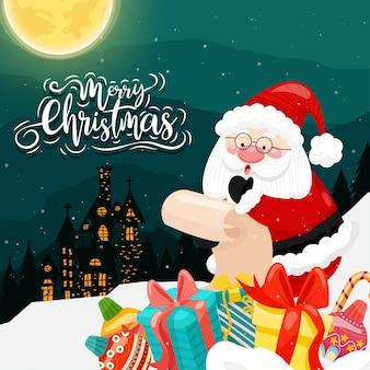 Feliz natal com o papai noel e várias caixas de presente na neve com a casa e a lua