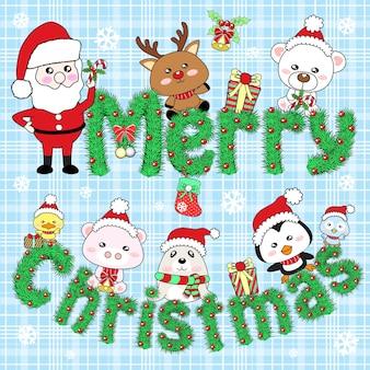 Feliz natal com papai noel e amigos animais fofos