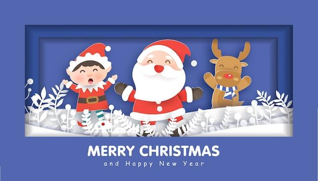 Feliz natal com papai noel e amigos para plano de fundo de natal, ilustração em corte de papel e estilo artesanal.