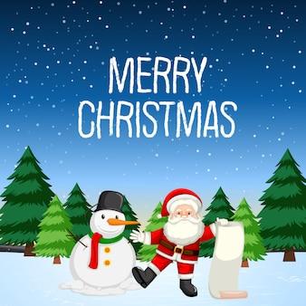 Feliz natal com papai noel e boneco de neve