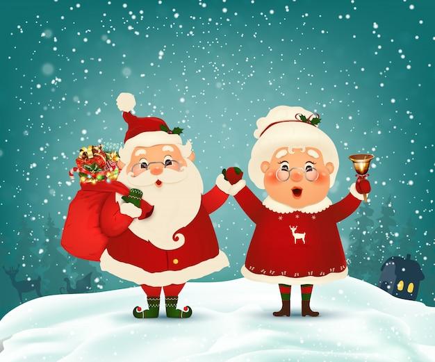 Feliz natal com papai noel e sra. claus, dowload de neve