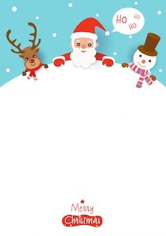 Feliz natal com papai noel, rena e boneco de neve no espaço em branco