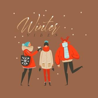 Feliz natal com personagens de amigos e texto de vibrações de inverno isolado em fundo marrom