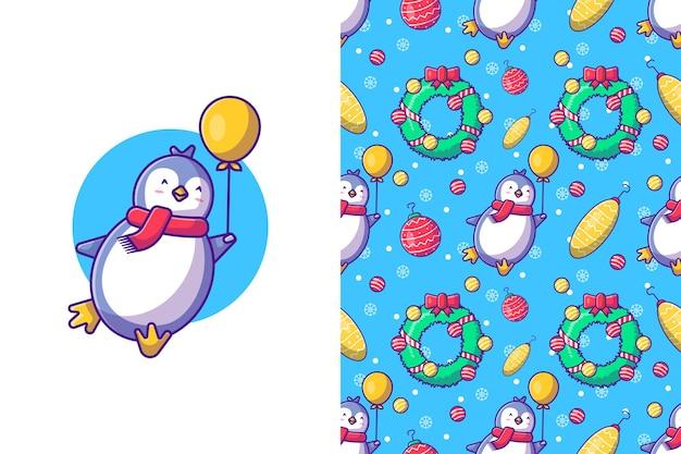 Feliz natal com pinguim feliz e padrão sem emenda de balão
