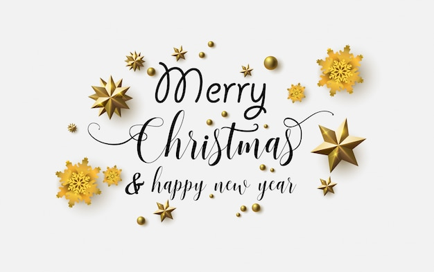 Feliz natal com texto bonito. fundo branco com estrelas cintilantes.