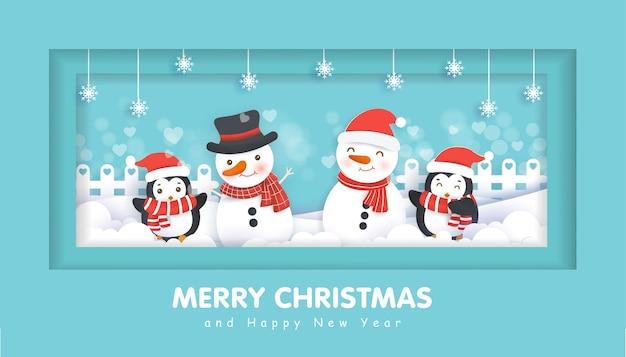 Feliz natal com um boneco de neve para o fundo de natal, ilustração em corte de papel e estilo artesanal.