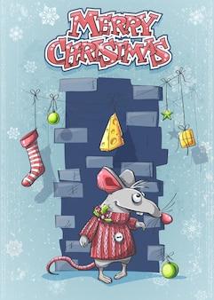 Feliz natal com um rato bonito dos desenhos animados