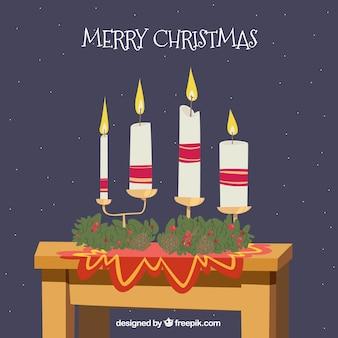 Feliz natal com velas desenhadas a mão