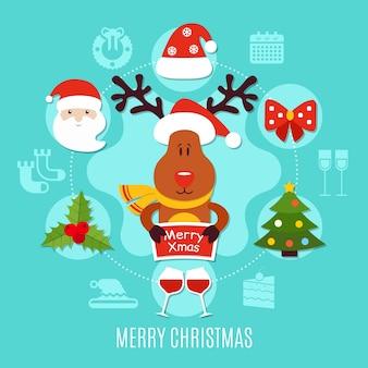 Feliz natal, composição redonda incluindo papai noel, veado com saudação, taças de vinho sobre fundo azul